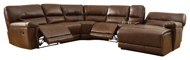 Homelegance Blythe Leather Sectional Reclining Sofa in Warm Brown ...