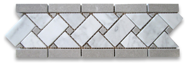 "4""x12"" Carrara White Basketweave Mosaic Border With Gray Dots Polished."