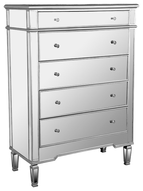 Nicolette 5 Drawer Silver Mirrored Exclusive Chest Contemporary Dressers