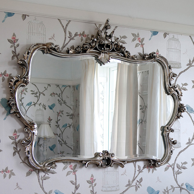 Miss Lala s Silver Looking Glass Wall Mirror rustic bedroom. Miss Lala s Silver Looking Glass Wall Mirror   Rustic   Bedroom