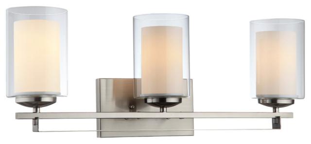 20-8154 3-Light Wall/bath Light, Satin Nickel.