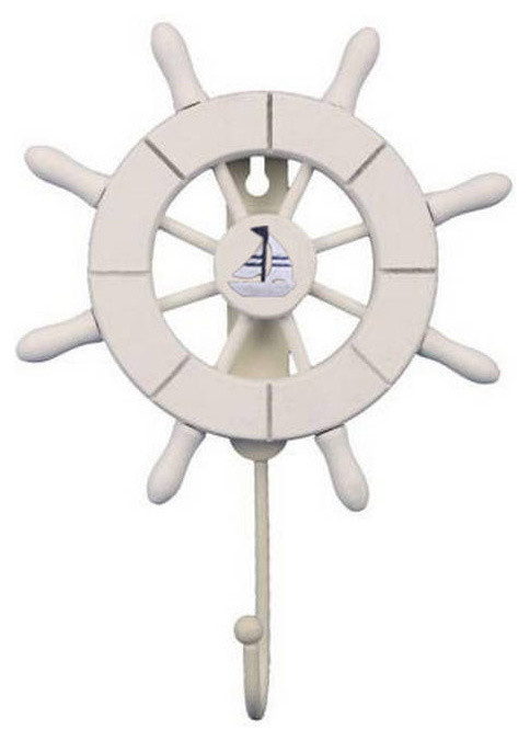 Ship Wheel With Sailboat And Hook