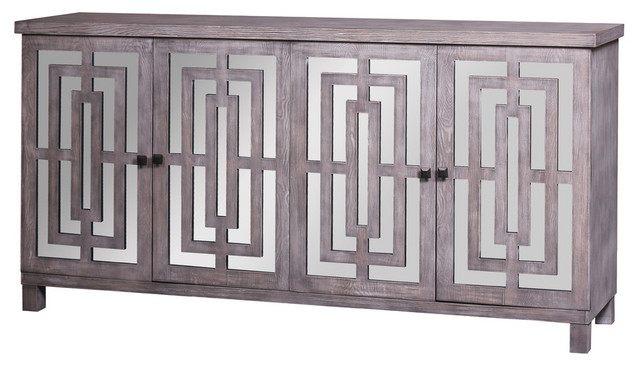 Abbott 4-Door Sideboard, Gray Wash Finish With Plain Finish Beveled Mirror.