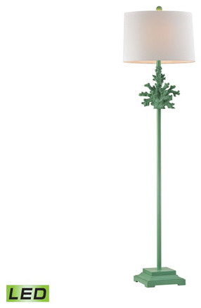 "Floor Lamp 1-Light With Spearmint Finish, Composite, Led 60""."