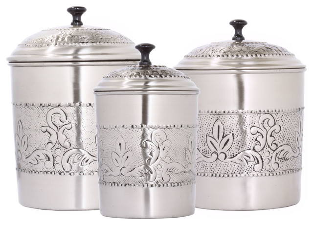 3Piece Victoria AntiqueStule Embossed Canister Set Traditional