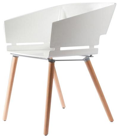 Kubix Modern White Plastic Arm Chair Plastic Seat