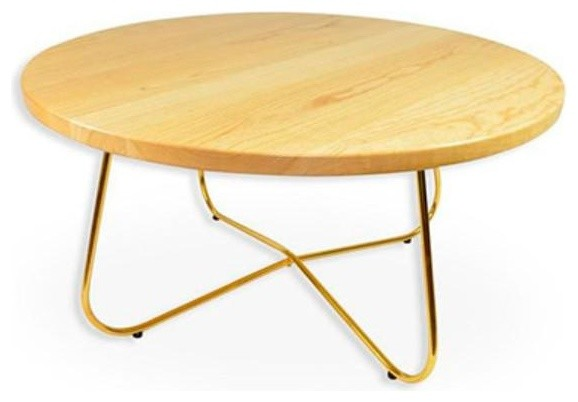 Sonata Modern Natural Wood Table Top Coffee Table, Gold Metal Legs  Modern Coffee