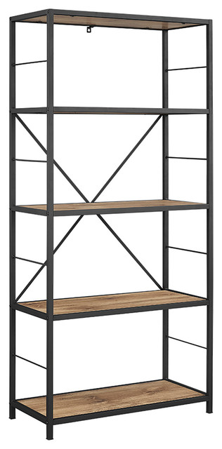 "60"" Rustic Metal And Wood Media Bookshelf, Barnwood."