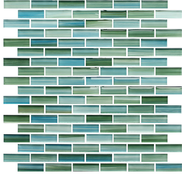 Rip Curl Green and Blue Hand Painted Glass Mosaic Subway Tile, Sample  contemporary-mosaic