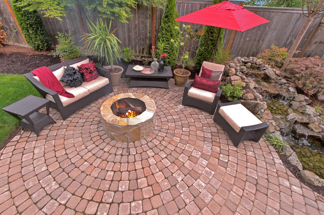 fire pit water feature pergola paver courtyard portland by paradise restored. Black Bedroom Furniture Sets. Home Design Ideas