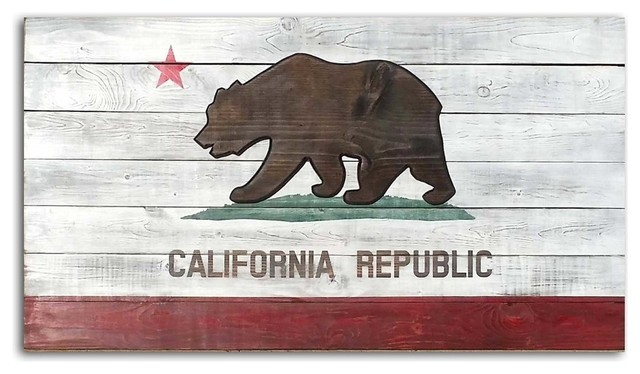 California State Flag Vintage-Style Wood Plaque, 42x28.