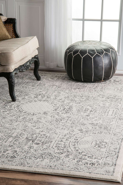 Traditional Vintage Honeycomb Labyrinth Rug, Gray, 5'x7'5""