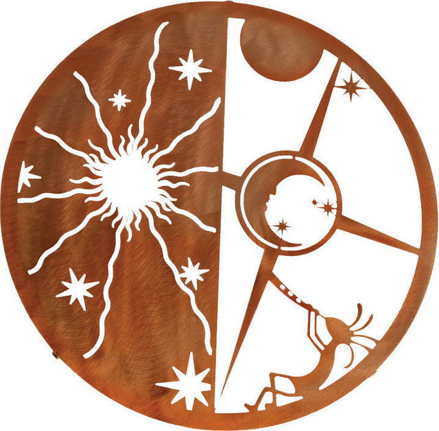 Sun And Moon Wall Art kokopelli sun & moon 18-inch southwest metal wall art - rustic