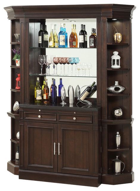 Stanford Wine Bar Vintage Sherry Finish Traditional Wine And Bar Cabinets By Warehouse