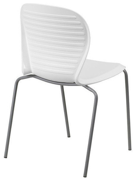 Modern Outdoor Indoor Stacking Patio Dining Chair with White Plastic Seat O