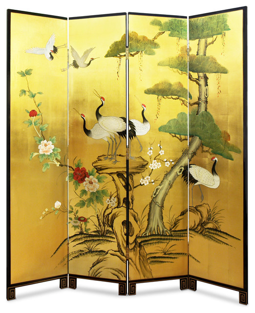 Hand Painted Gold Leaf Floor Screen