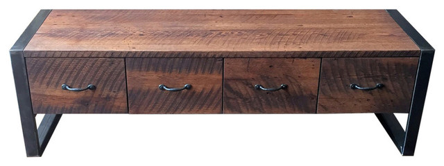 Reclaimed Wood Storage Bench With 2 Drawers 36