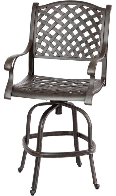 Cast Aluminum Patio Swivel Bar Stool Antique Bronze transitional-outdoor- bar-stools  sc 1 st  Houzz & Cast Aluminum Patio Swivel Bar Stool Antique Bronze ... islam-shia.org