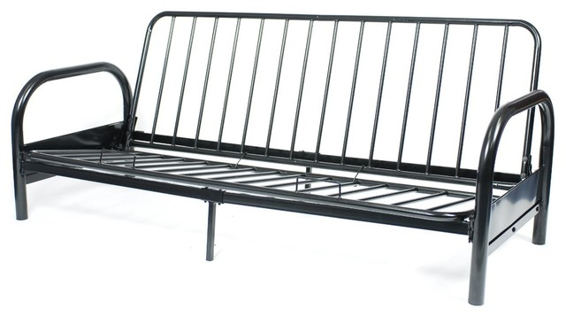 Black Metal Full Size Futon Frame Contemporary Futon