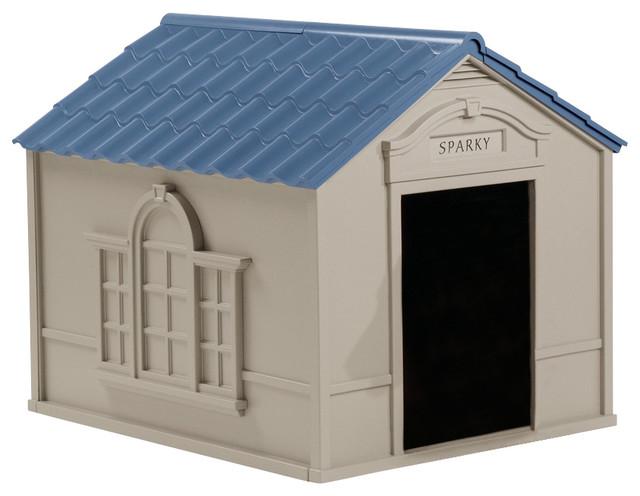 Suncast large dog house w taupe and blue finish for Big modern dog house