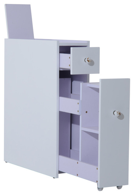 HomCom Slide Out Bathroom Floor Cabinet, White Contemporary Bathroom  Cabinets And
