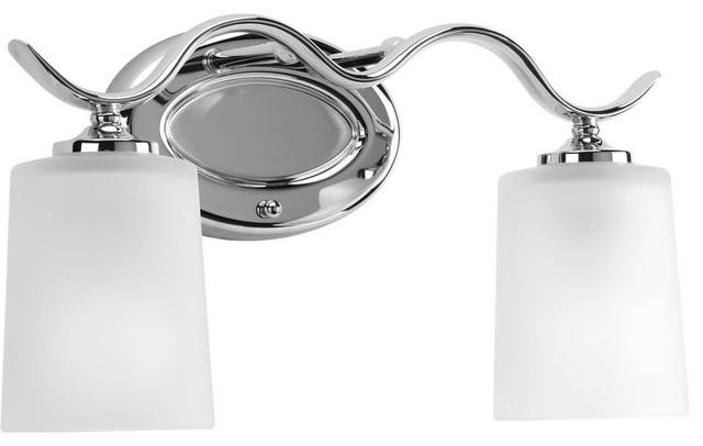 Progress Lighting Inspiration 2 Light Brushed Nickel: Progress Lighting P2019-09 Inspire 2 Light Bathroom Light