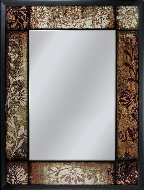 """Bronze Patchwork Mirror, 25""""x33""""."""