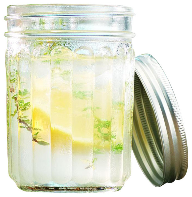 Glass Ribbed Mason Jar Drinking Glasses