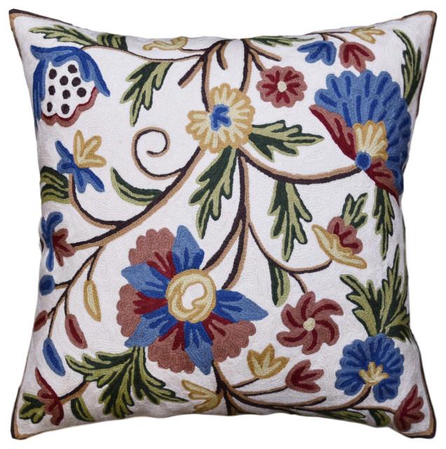 Tree Flowers Decorative Pillow Black Floral Tree Print Throw Pillow White Flower Pillow Floral Accent Pillow Black Floral Throw Pillows