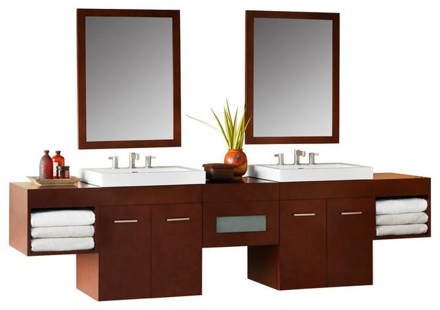 """Ronbow 94"""" Bella Solid Wood Double Wall Mount Vanity Set, Dark Cherry"""