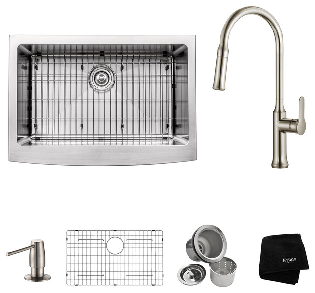 """Apron Front Single-Bowl Sink With Pull-Down Faucet, Stainless Steel, 30""""."""