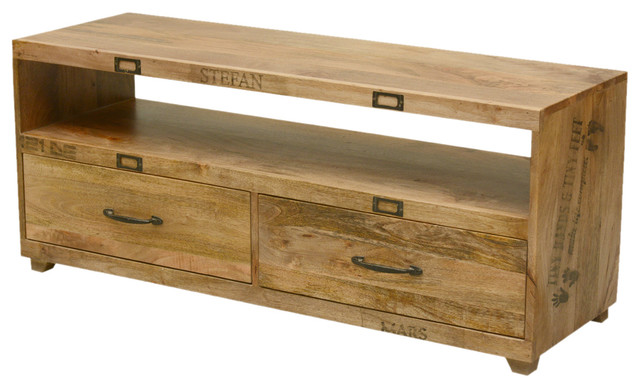 Tiny Hands Mango Wood Handmade TV Stand With Drawers  rustic-entertainment-centers-and