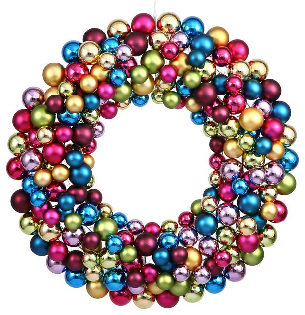 """36"""" Multi Colored Ball Wreath"""