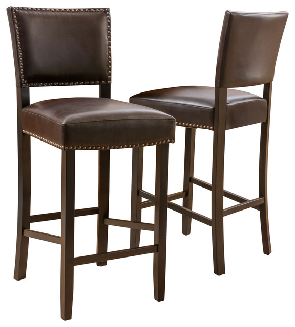 Castana Brown Leather Backed Bar Stools Set Of 2