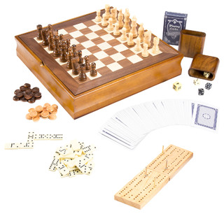 Hey! Play! 7-in-1 Classic Combo Game, Chess-Checkers-Cribbage & More