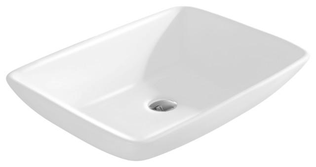 Vitreous China Rectangle Vessel Sink, White, 23.25.