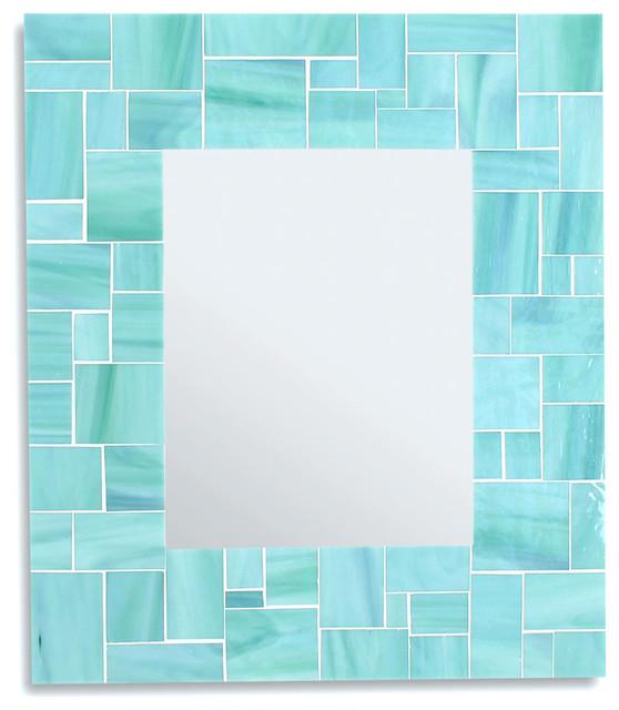 Decorative sea green mosaic bathroom wall mirror in for Sea green bathroom accessories