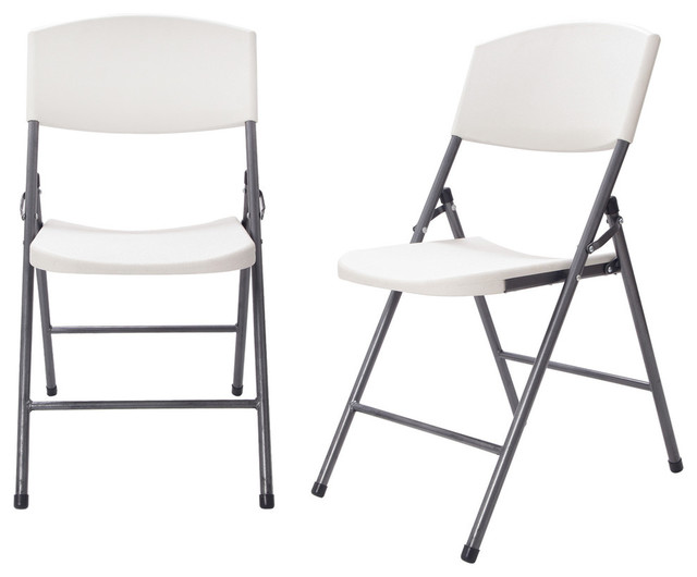 Folding Chairs Plastic sturdy easy-to-store white plastic folding chair, set of 2