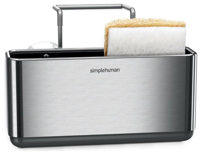 Simplehuman Slim Stainless Steel Sink Caddy Contemporary Kitchen Sink  Accessories