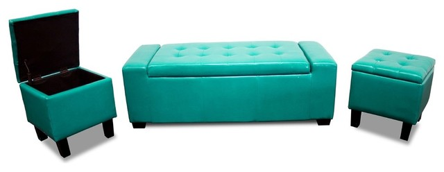 Newport Storage Bench With 2 Storage Stools, 3-Piece Set, Sea Green.