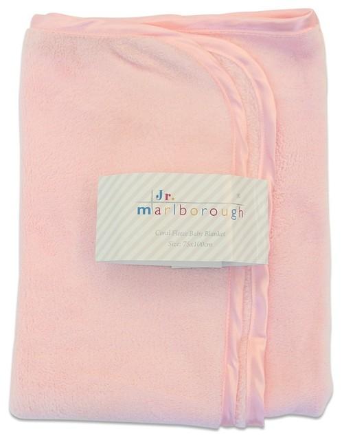 Marlborough Junior Coral Fleece Baby Blanket Pink