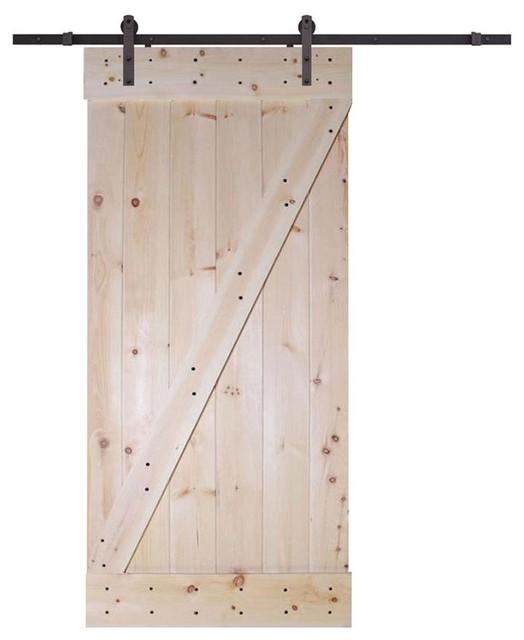 Solid Core Knotty Pine Interior Barn Door Slab With Dark
