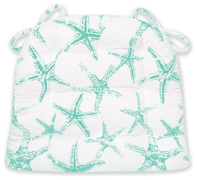 Sea Shore Starfish Aqua Indoor Outdoor Chair Cushion