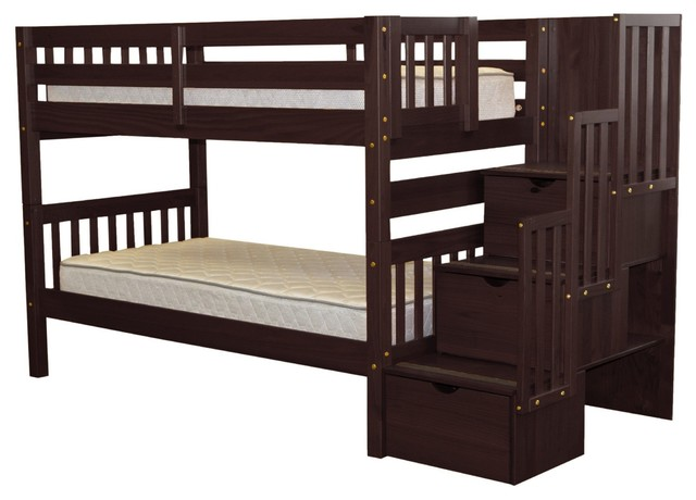 Bedz King Bunk Beds Twin Over Twin Stairway With 3 Step Drawers, Cappuccino.