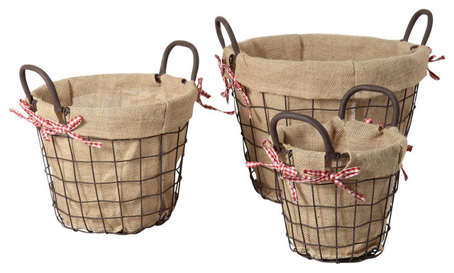 Circular Rustic Iron Baskets Handles Burlap Lining, Set Of 3