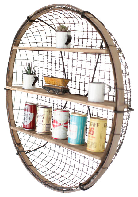 Round Wire Basket Wall Shelf Industrial Display And
