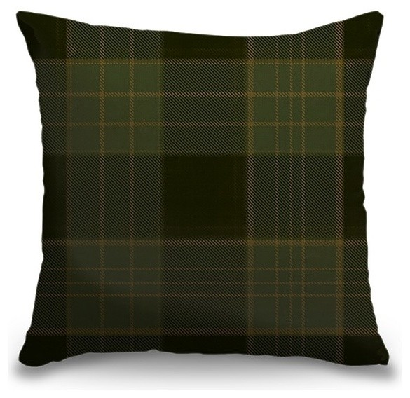 """Dark Green and Brown Tartan Plaid"" Outdoor Pillow 18""x18"""