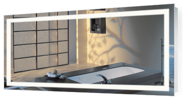 "Large LED Lighted Bathroom Mirror With Defogger and Dimmer, 60""x30"""