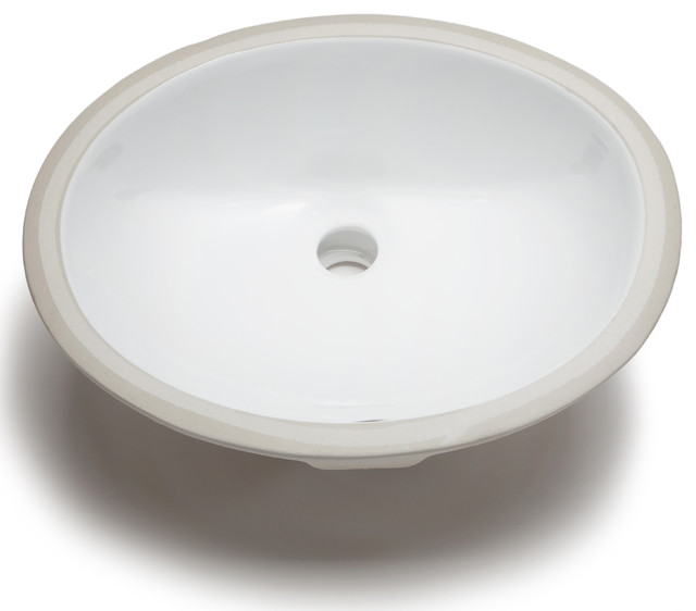 Hahn ceramic small oval bowl undermount white bathroom sink contemporary bathroom sinks by for Contemporary undermount bathroom sinks