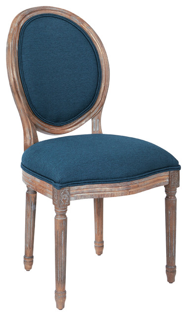 Lillian Oval Back Chair with Brushed Frame, Klein Azure Fabric